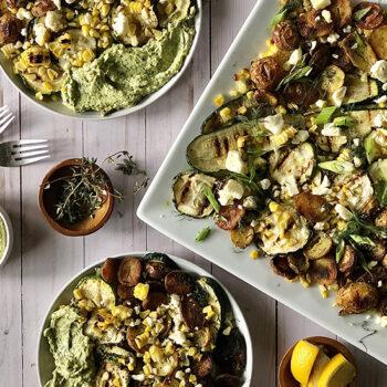 Grilled zucchini and corn salad