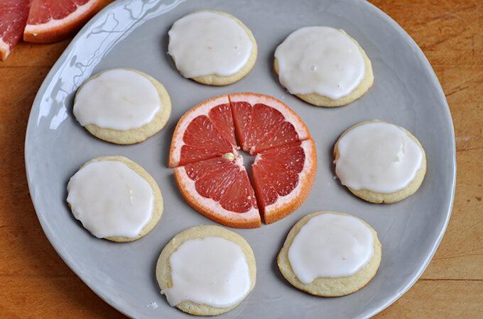 Grapefruit cookies on plate
