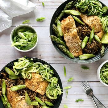 Salmon soba noodle salad in bowls