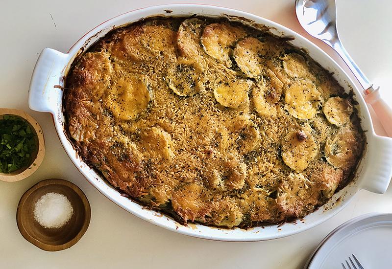 Oven Baked Ratatouille Scalloped Cheesy Potatoes