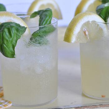 Vanilla basil lemonade in glass