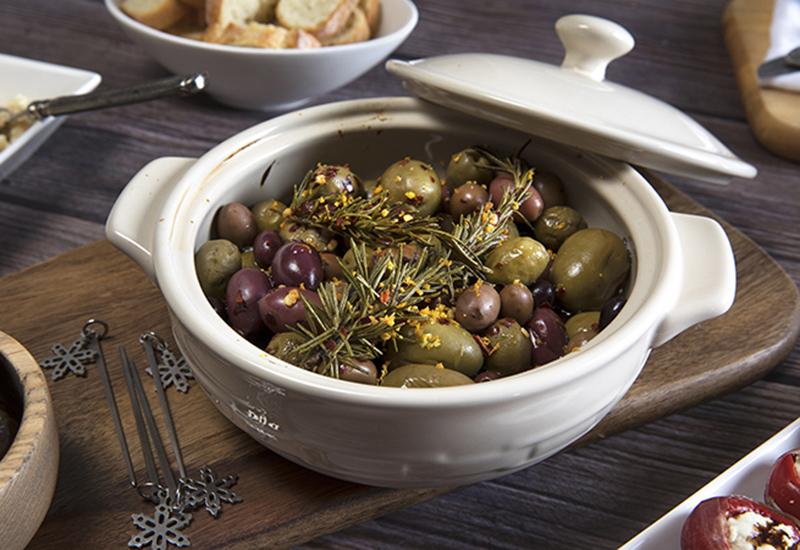 Baked Citrus Olives in Bowl