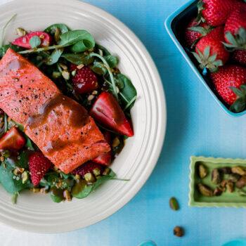 Balsamic Salad with Sockeye Salmon & Strawberries
