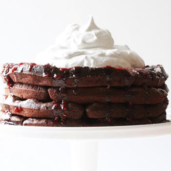 Chocolate Cake Waffles with Fresh Raspberry Sauce