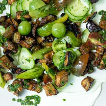 Fried Eggplant, Tomato and Cucumber Salad