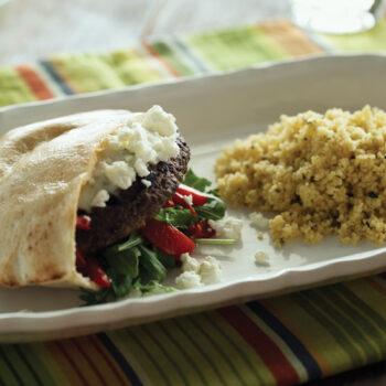 Greek lamb burger in pita