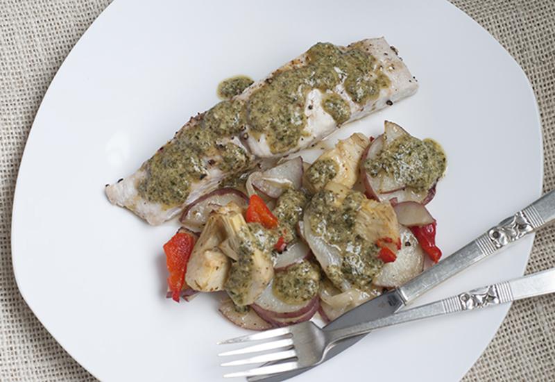 Mahi Mahi with Artichokes, New Potatoes and Pesto Drizzle