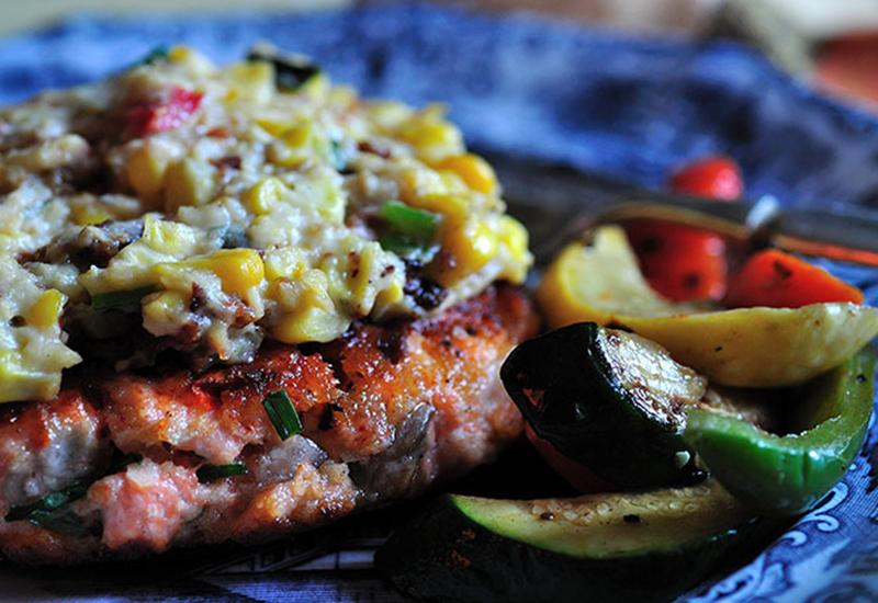 Salmon Burger with Corn Casserole and Sautéed Vegetables