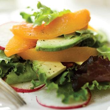 Peach and Avocado Salad with Creamy Tarragon Dressing