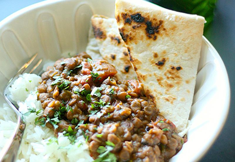Slow Cooker Masala Lentil Dal + Rice