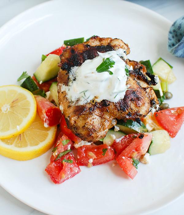 Mediterranean Grilled Chicken with Dill Greek Yogurt Sauce