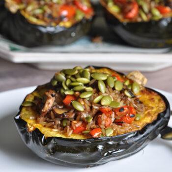 Acorn Squash with Quinoa and Mushroom Stuffing