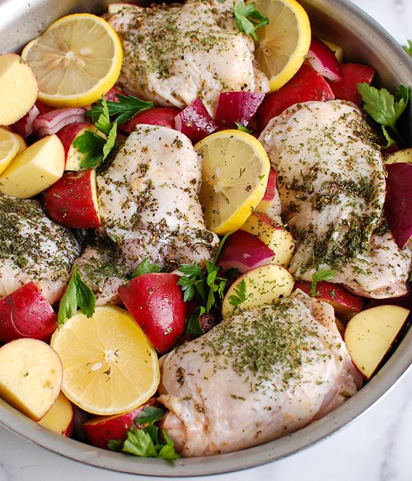 One Pot Mediterranean Lemon Chicken and Potatoes_Raw