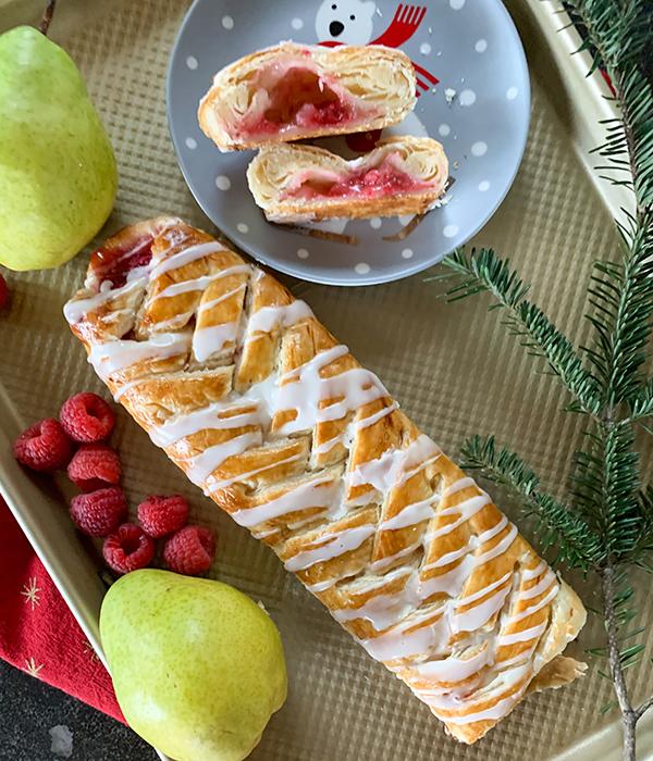 Pear Raspberry Pastry Braid
