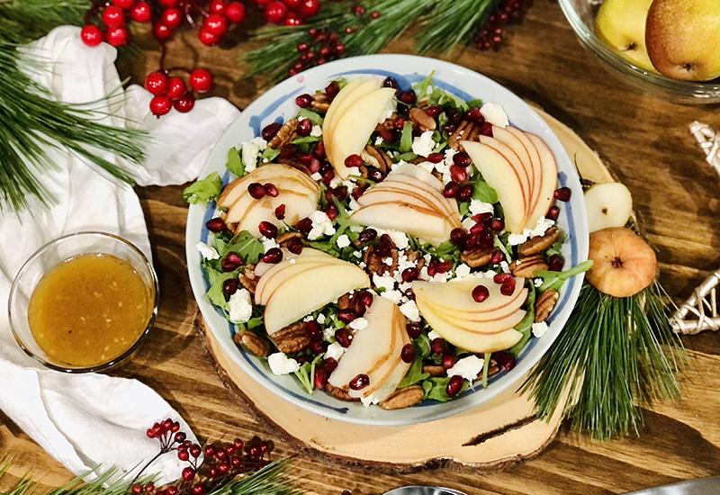 Pomegranate and Pear Greens Salad