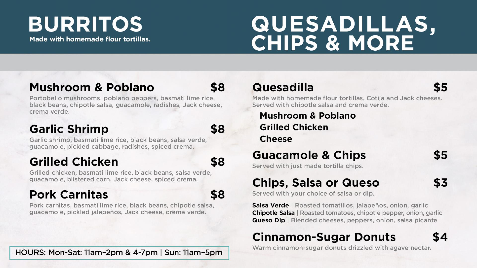 Chagrin Falls Burritos and Quesadillas Menu