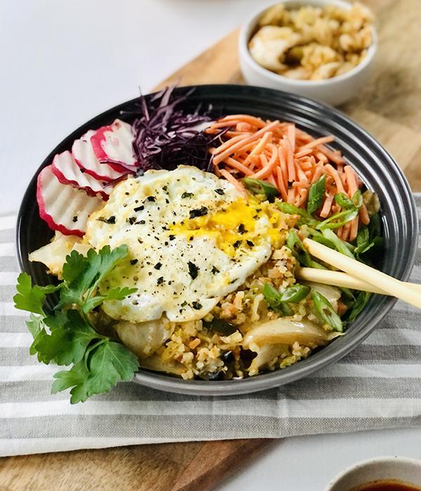 Kimchi Cauliflower Rice Power Bowls