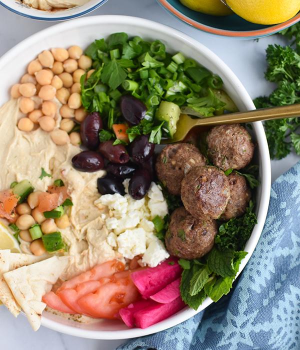 Mediterranean Lamb Meatballs in a Hummus Bowl