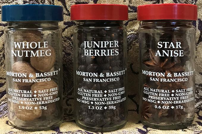 Whole Nutmeg, Juniper Berries, Star Anise