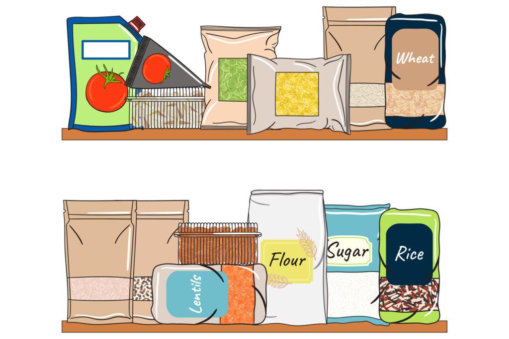 Set of packs of cereals, grains, nuts on shelf for kitchen storage