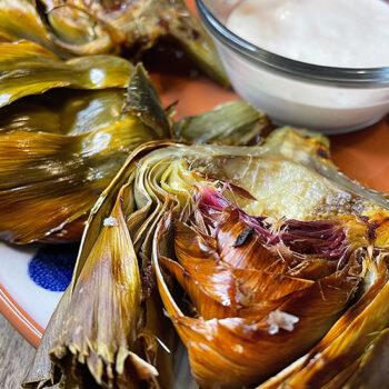 Roasted Artichokes with Lemon Garlic Aioli