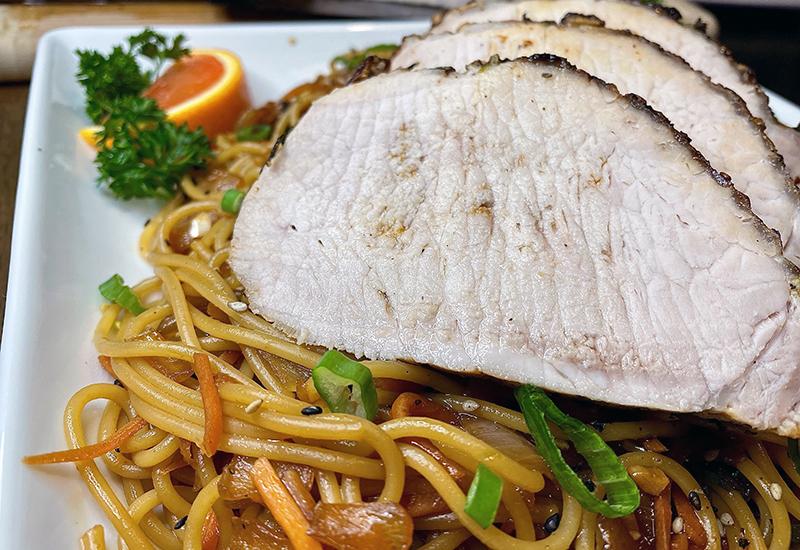 Citrus Herb Pork Roast with Garlic Noodles