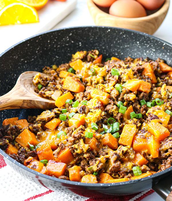 Beef and Sweet Potato Scramble
