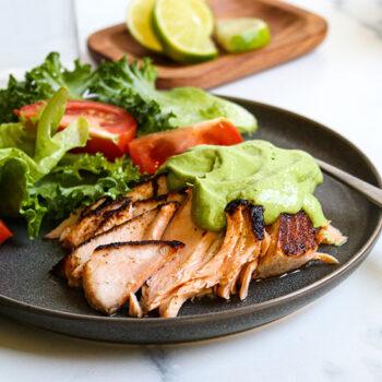 Blackened Chili Salmon with Avocado Crema