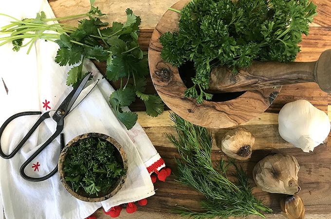 Fresh Herbs in a Bowl