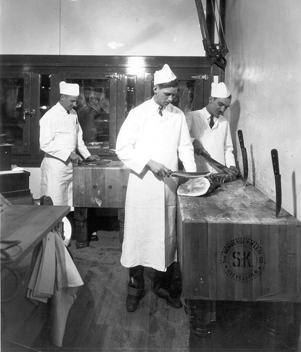 Joe Heinen working at the butcher block
