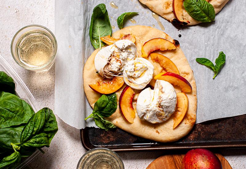 Peach and Burrata Flatbread