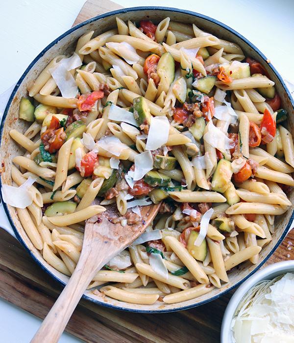 Zucchini Prosciutto and Tomato Penne