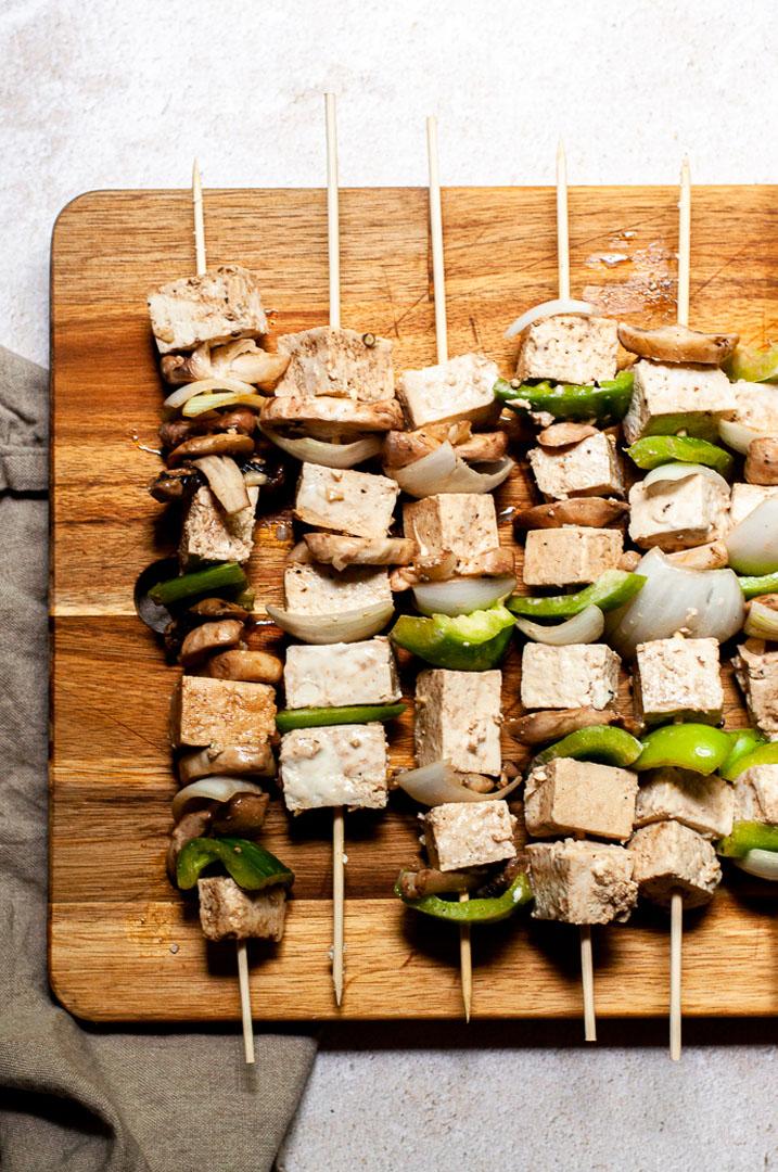 Grilled Tofu and Mushroom Skewers