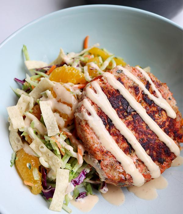 Asian Salmon Burger Salad