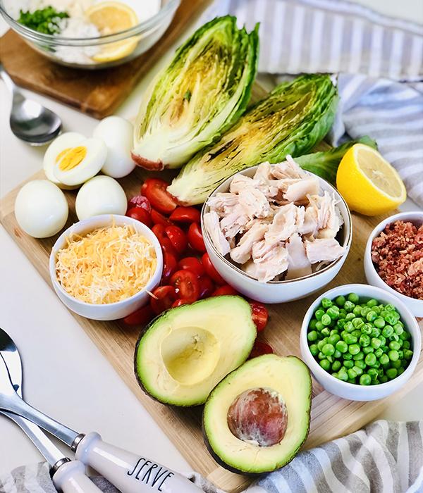 Grilled Cobb Layered Salad Ingredients