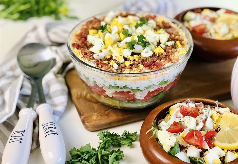 Grilled Cobb Layered Salad