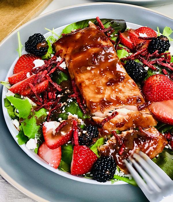 Salmon Strawberry and Feta Salad