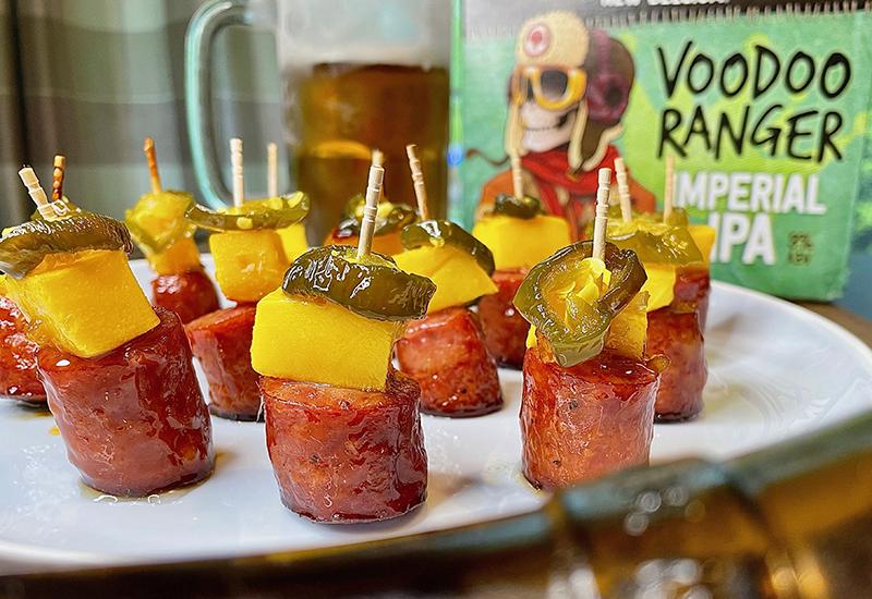 Voodoo Glazed Sausage Mango Bites