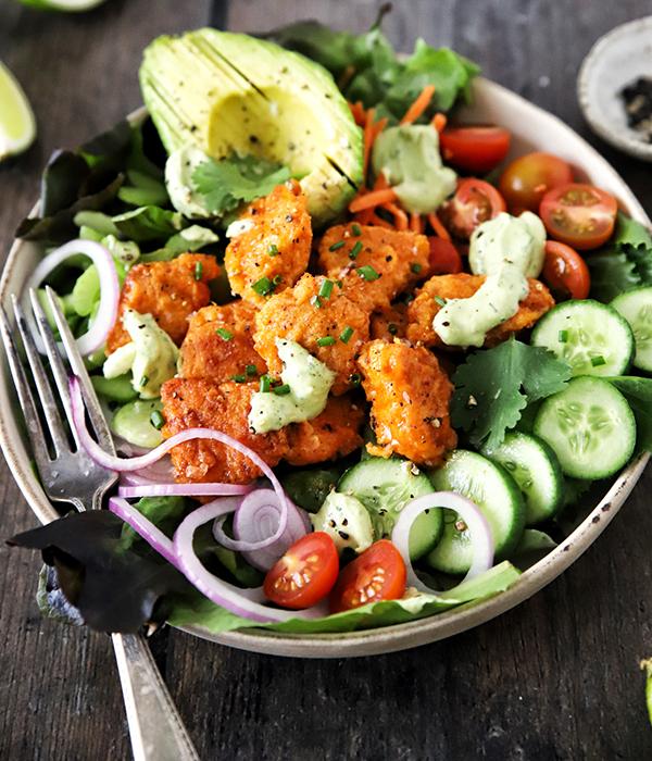 Paleo Crispy Buffalo Chicken Salad