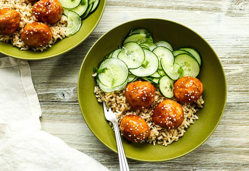 Korean BBQ Meatball Bowls