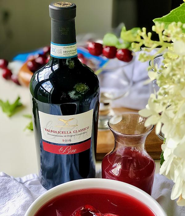 Wine Bottle and Cherry Sangria Slushie