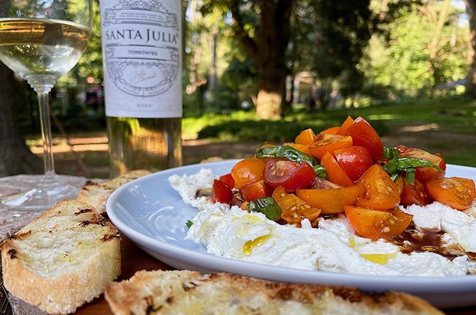Creamy Garden Bruschetta Dip with Wine