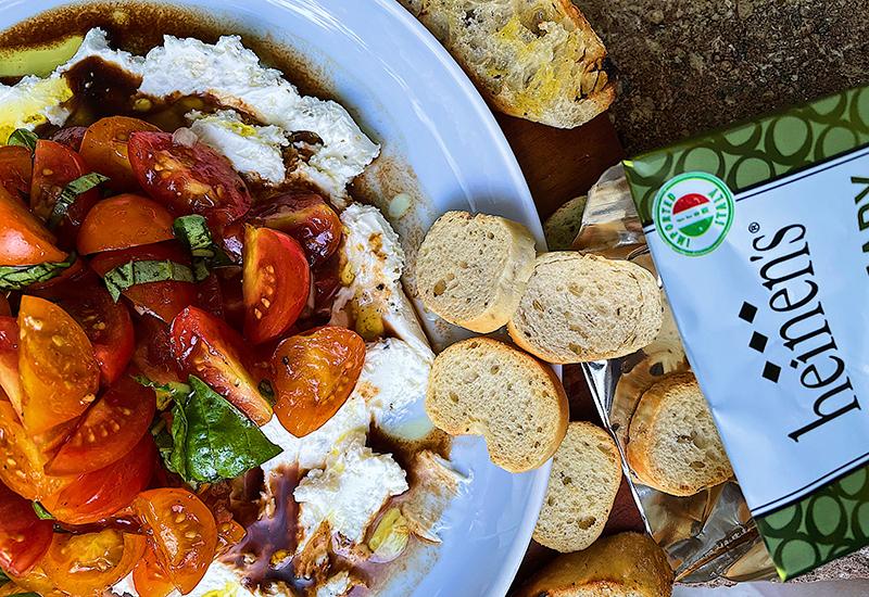 Creamy Garden Bruschetta Dip with Crostinis