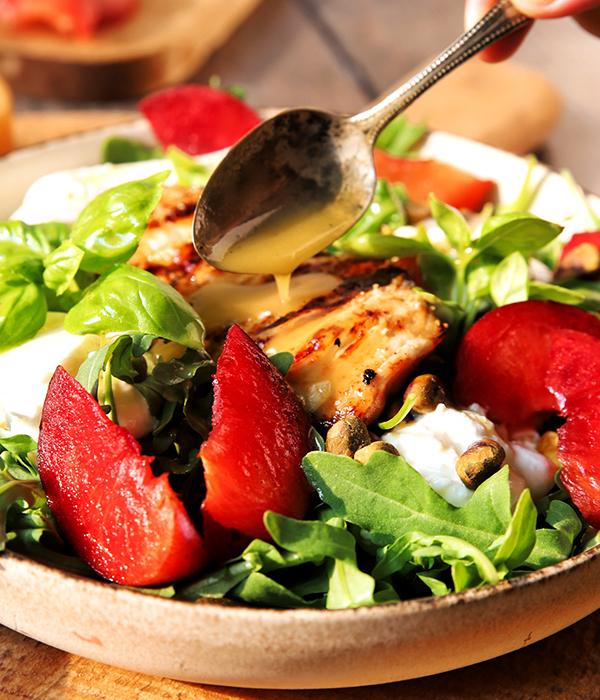 Plumcot Salad with Honey Lemon Vinaigrette