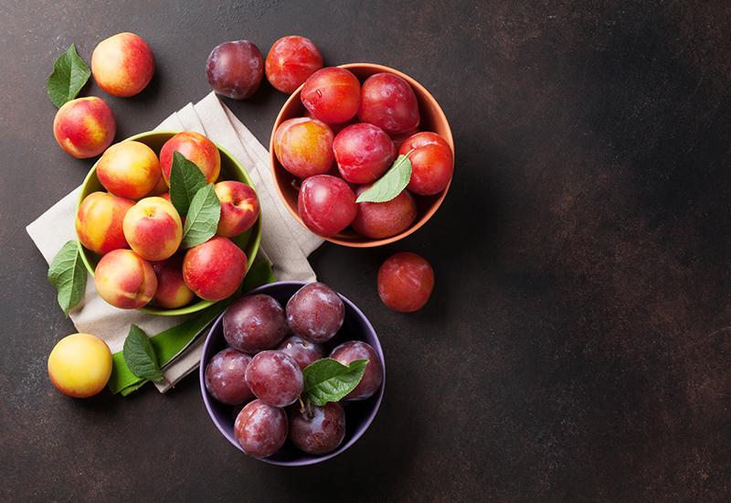 Fresh Stone Fruit in Bowls
