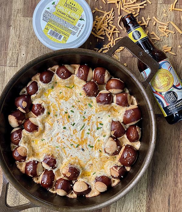 Pretzel Skillet Dip with Heinen's Cream Cheese Container and Beer Bottle